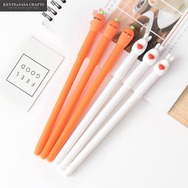 2 unids/set conejo Gel Pen calidad papelería de la escuela, la bolígrafo de tinta de Gel escuela proveedores de oficina de papelería pluma regalo de herramienta