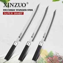 2019 XINZUO 240/270/300MM Sushi Mes met Schede Cover X9Cr18MoV Staal Keuken Messen Cleaver Sashimi Mes ebbenhout Handvat