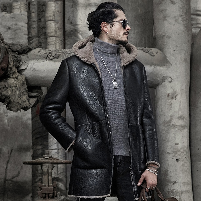 Hooded Sheepskin Shearling Jacket Long Style Handsome Motorcycle Jacket B3 B7 With Fur Jacket