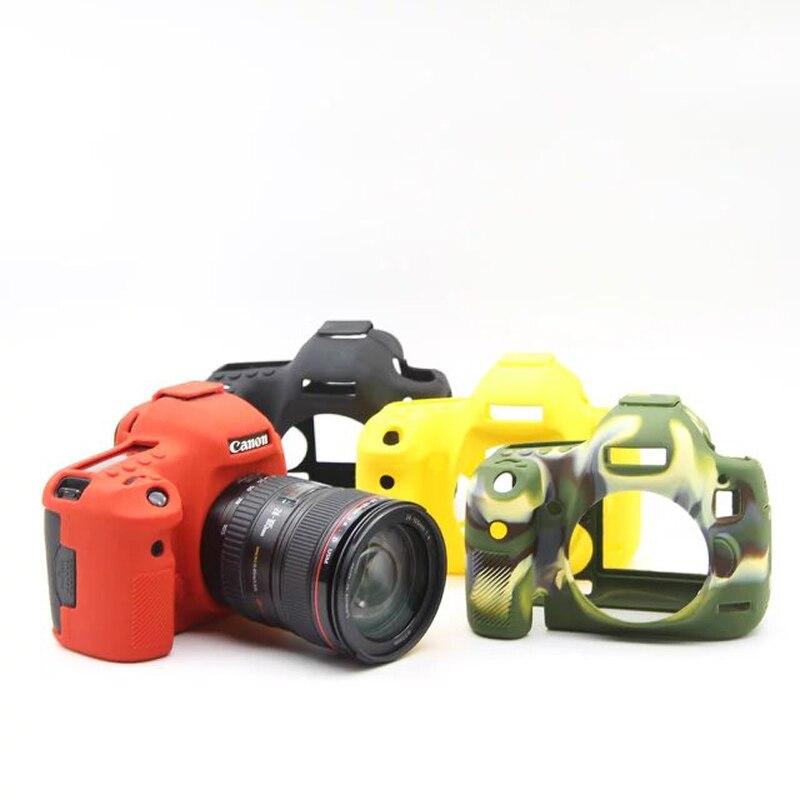 Universal bolsa suave para cámara de Gel de goma de silicona ejército piel Cámara caso de la cubierta protectora para Canon 5 DMarkIII/5D3/5DS/5DR