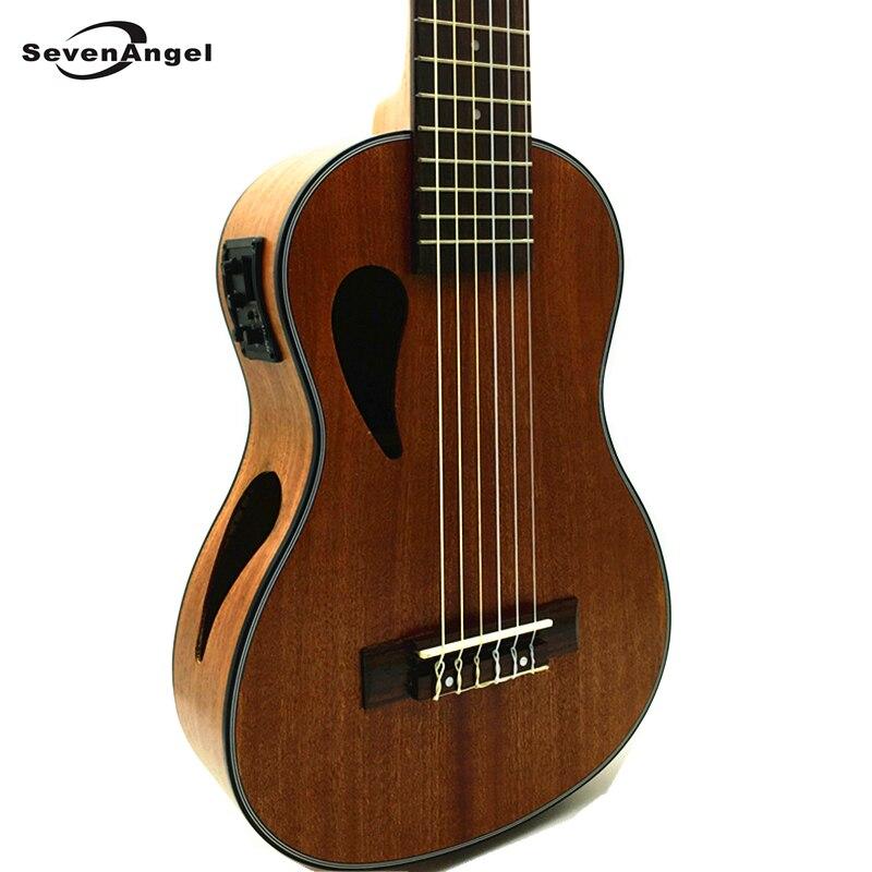 Ukelele eléctrico SevenAngel de 28 pulgadas con 6 cuerdas, guitarra de sapeli Uku hawaiana, cabeza de Ukelele clásica con pastilla EQ