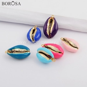 BOROSA Summer Style Jewelry 10PCS Gold Color Rainbow Cowrie Shell Pendant Mixed Colors Shell Charms for Necklace Making WX1075