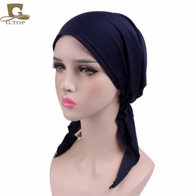 Frauen Solide Schmerzen stretchy Pre-Gebunden kopf Schal Kopf wrap schals Krebs Chemo kappe Bandanas Chemo Hut
