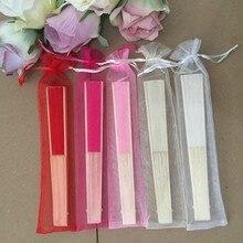 Eventail en soie de mariage 30 pièces/lot   Avec sac cadeau en organza, 5 couleurs disponibles