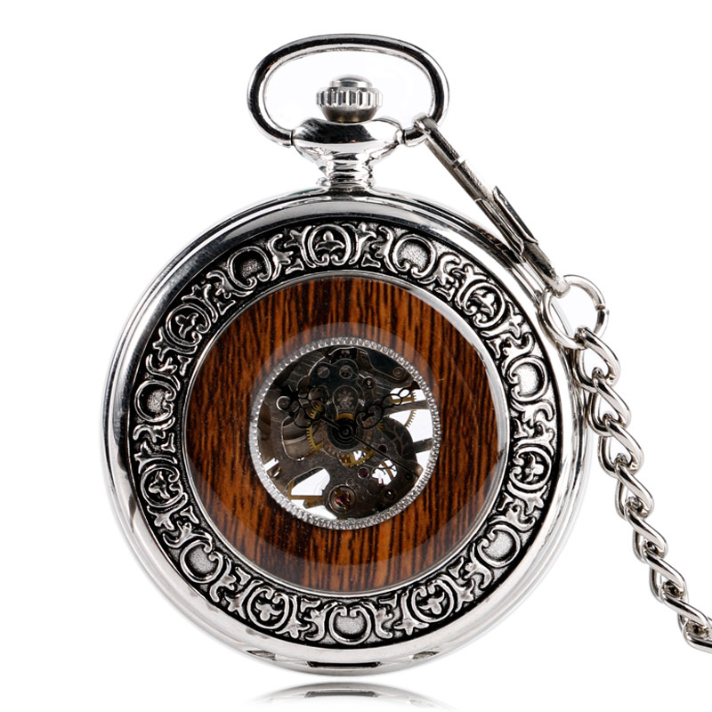 Relojes de bolsillo Fob cuerda a mano mecánica exquisita caja de madera reloj de bolsillo plateado de lujo transparente Vintage para hombres y mujeres regalos