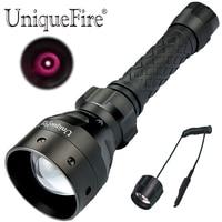 UniqueFire 1405 T67 IR 850nm אינפרא אדום אור Led פנס ראיית לילה ציד מנורת טקטי לפיד עם מד לחץ מרחוק