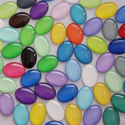 18x25 milímetros Misto Colorido Oval Cabochão Vidro Dome Jóias Encontrar Pingente Cameo Configurações 20 pçs/lote (K05519)