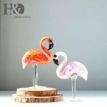 H & D стеклянный орнамент скульптура-искусство Стекло Ручная выдувная стеклянная фигурка животного украшение дома 2 шт фламинго (красный и розовый)