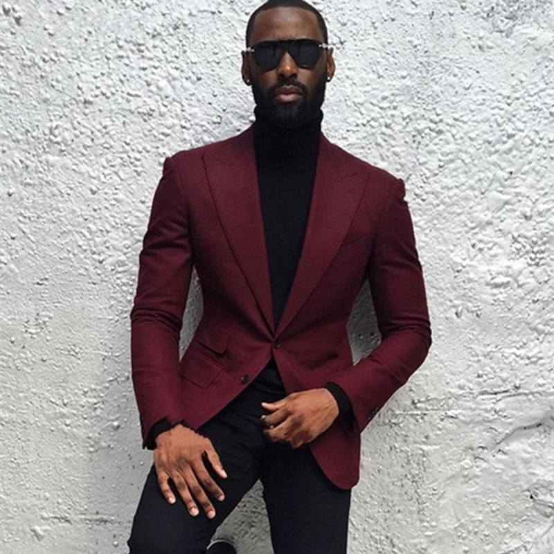 Мужской костюм бордового цвета на заказ, официальная одежда, мужские свадебные костюмы, смокинги для мужчин, Лучший мужской костюм жениха (б...