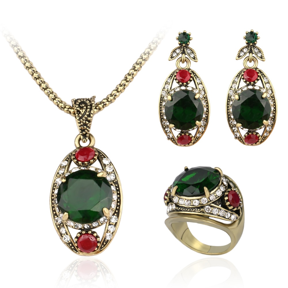 2016 grzywny 3 sztuk austriackie zestawy kryształowej biżuterii antyczny brąz Plated zielona pierścionek + naszyjnik + kolczyki dla kobiet