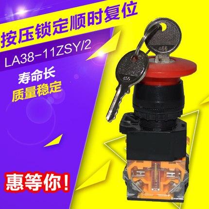 LA38-11ZSY/2 مؤقتة مفتاح التبديل رئيس فطر إيقاف الطوارئ دفع زر التبديل 22 ملليمتر AC220V DC24V