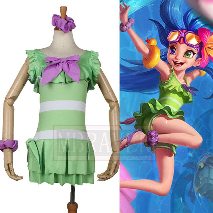 LOL aspecto de Crepúsculo Zoe traje de baño natación Fiesta EN LA Piscina traje de baño playa fiesta Cosplay traje hecho a medida envío gratis