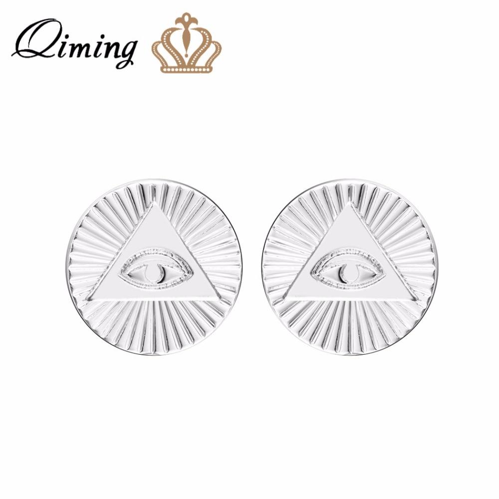 QIMING Illuminati Eyes Vintage pendientes de moda ojo de Dios mujeres hombres joyería ojo de la Providencia tercer ojo Stud pendientes regalo