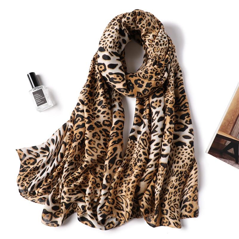2019 mujeres bufanda de lana de invierno cálido moda Patchwork Bandana mujeres espesar bufandas de lana de lujo grande Pashmina algodón leopardo