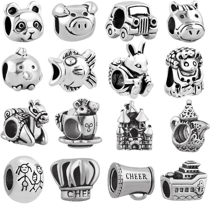 free shipping 1pc 925  car pig family chef fish mouse big hole bead charm Fits European Pandora Charm Bracelets mix022