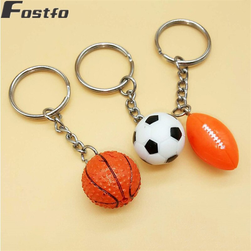 Simple Alloy Car Keychain Keyring Key Chain Holder Cute Resin Basketball Football Soccer Rugby Model Sports Men Key Chain
