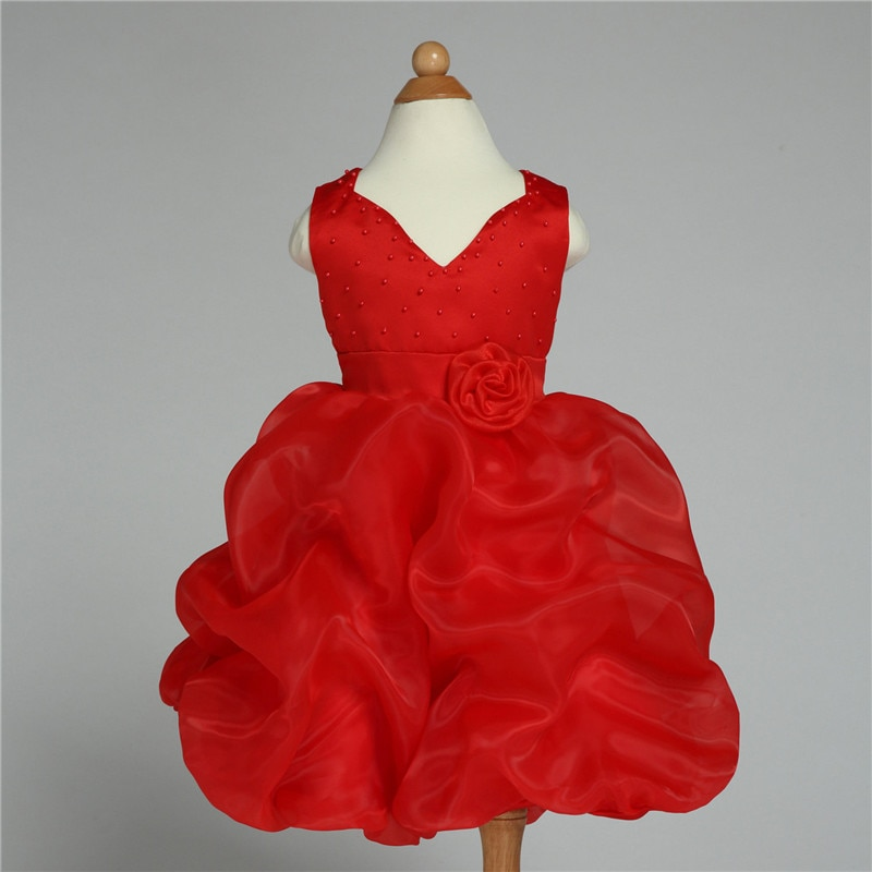 2020 vestido Formal de la muchacha de la flor de la marca rojo con cuello pico boda princesa Vestidos niños ropa para niñas de 10 11 12 años de edad AKF164067