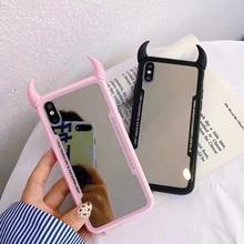 Miroir de luxe Maquillage Diable corne Acrylique Doux tpu Téléphone étui pour Iphone X XS XR XSMax Pour Iphone 11PRO MAX 6Plus 7 8 Plus Coque