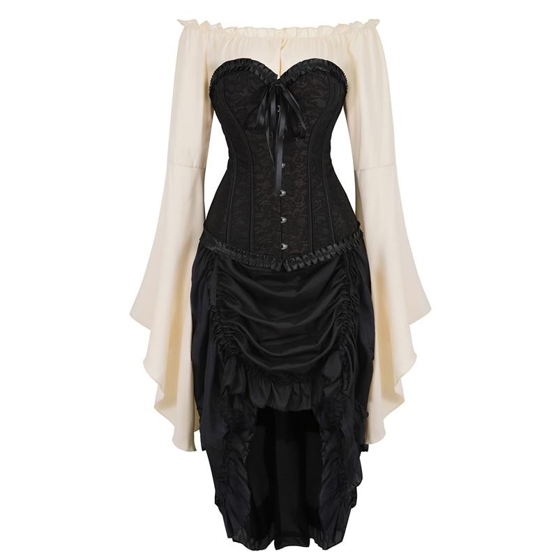sexy corset dress top shirt skirt 3-piece costume cosplay gothic steel bone corsets bustier plus size renaissance korsett black