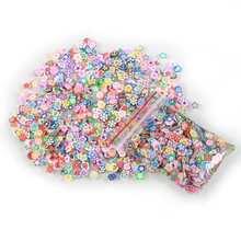 ELECOOL 1000 unids/bolsa Nail Art decoraciones arcilla polimérica frutas formas pegatinas 3D 5mm rebanadas arcilla pegatina decoración de uñas
