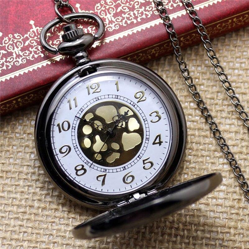 Reloj de bolsillo de moda reloj de cuarzo negro reloj Steampunk Fob relojes para mujeres COLLAR COLGANTE con cadena