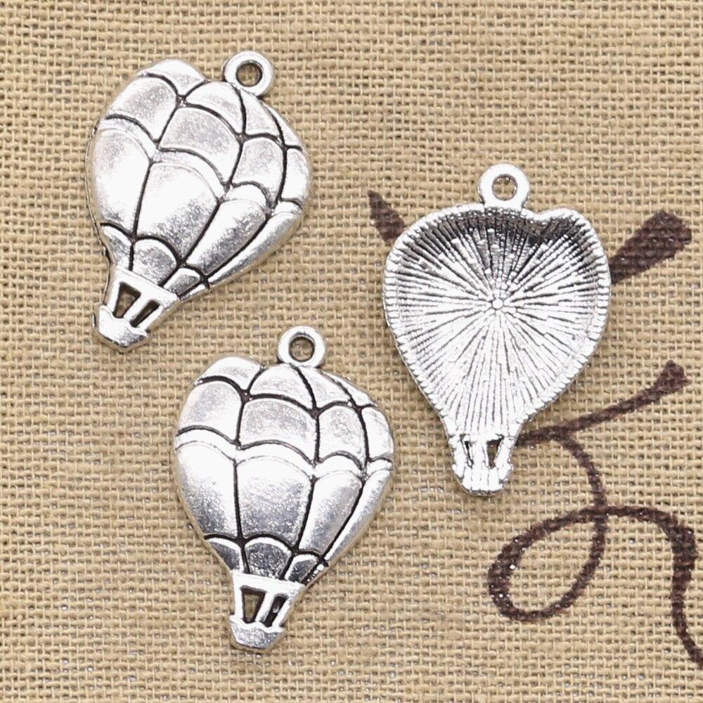 15 pçs encantos balão de ar quente 25x17mm bronze antigo prata cor pingentes fazendo diy artesanal tibetano bronze jóias
