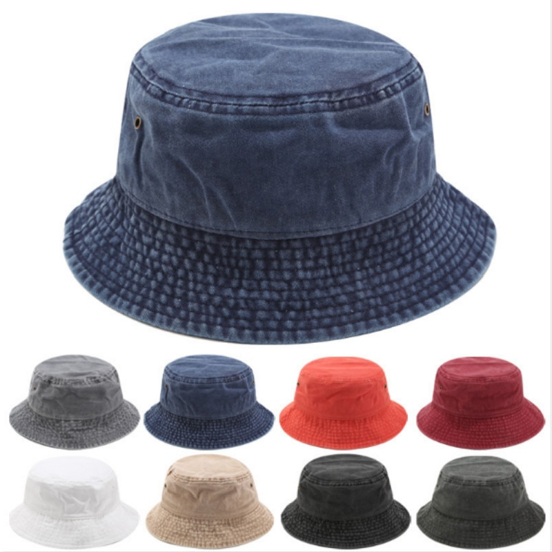 bucket hat women spring panama cap sun summer beach wide brim climbing holiday outdoor accessory Vintage Washed Denim Bucket Hat Blank Jean Fishing Cap Flat Top Fisherman Sun Hat Wide Brim Beach Panama Outdoor Sports Sunhat