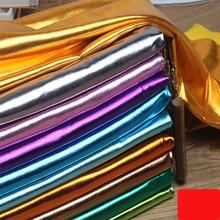 150 cm * 50 cm Stretch Shiny Goldfolie bronzing Spandex Material PU glänzend leder stoff für DIY bühne cosplay kostüm Kleid