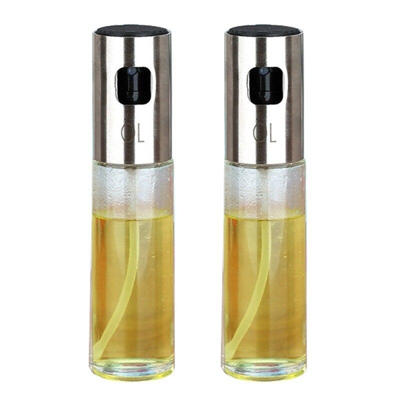 2 unids/set de vidrio botella de Spray de aceite de cocina, aceite de oliva pulverizador de aceite de acero inoxidable olla de aceite de botella de aparato dispensador cocinar también