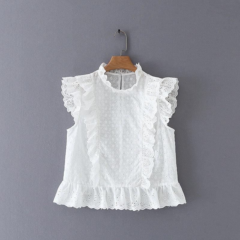 Blusa sem mangas curta feminina, camisa cropped babada bordada transparente casual chique e sem mangas