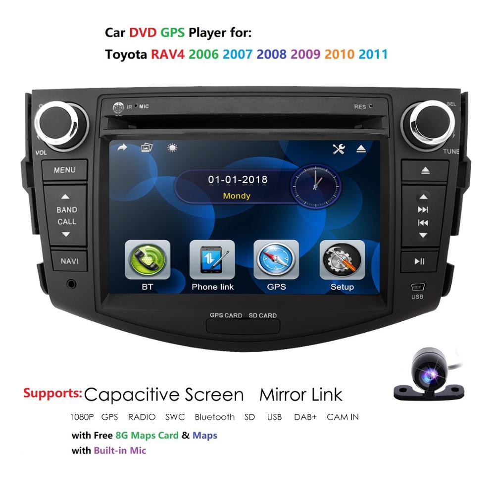 """Para Toyota RAV4 2006-2011 7 """"HD Autoradio GPS navegación CD Bluetooth + Mapa + Cámara coche reproductor Multimedia unidad principal Moto MirrorLink"""