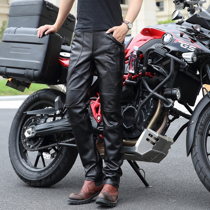 حار جديد الرجال حقيقية بنطال جلدي الرجال ضيق قاطرة السراويل الكورية النسخة دراجة نارية الطبيعي الأغنام الجلد السراويل 30-36