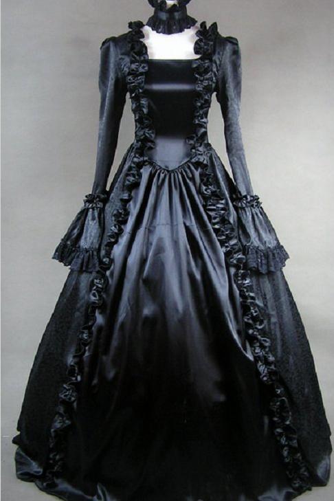 Disfraz victoriano, vestido victoriano gótico negro, vestidos renacentistas, ropa de teatro, vestidos de disfraz