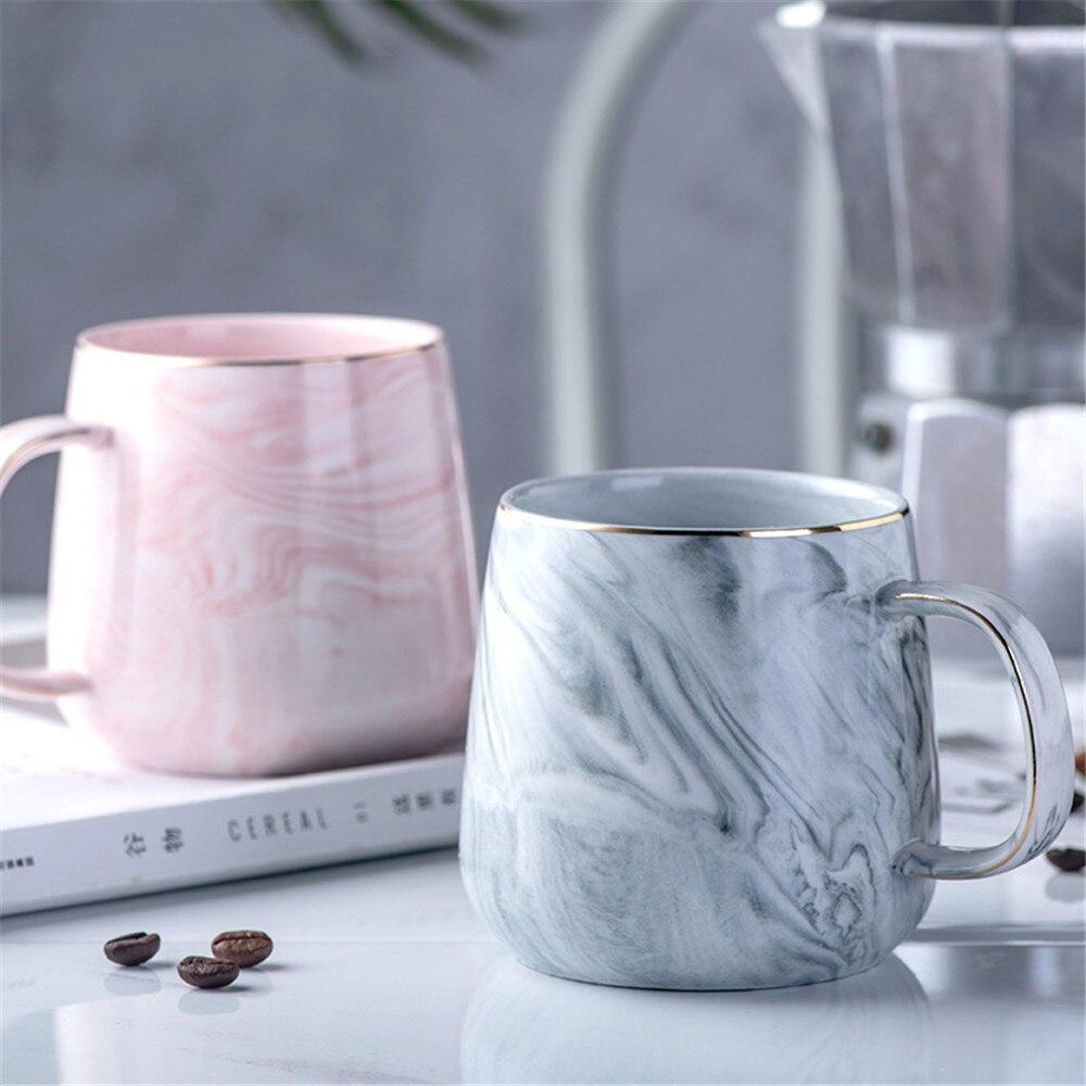 Роскошная керамическая кружка с мраморным узором, позолоченные кружки с ручкой, чашка для чая, молочного, кофейного, розового, серого цвета, ...