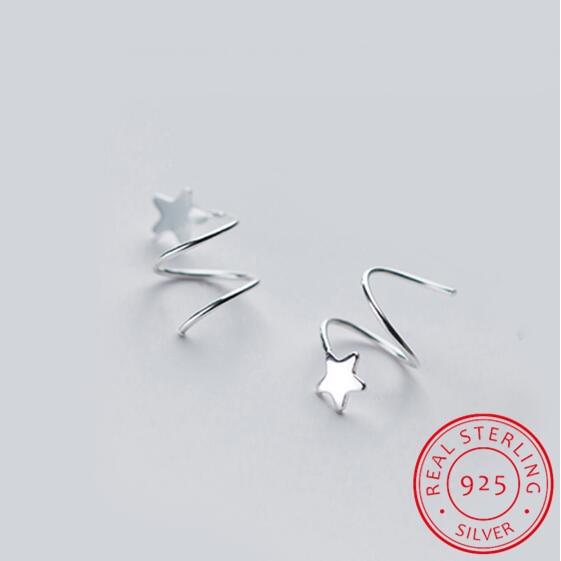 100% 925 Sterling Silver Women's Small Star Ear Bones Ear Buckle Ring Tightly Packed Mini Double Ring Earrings DS434