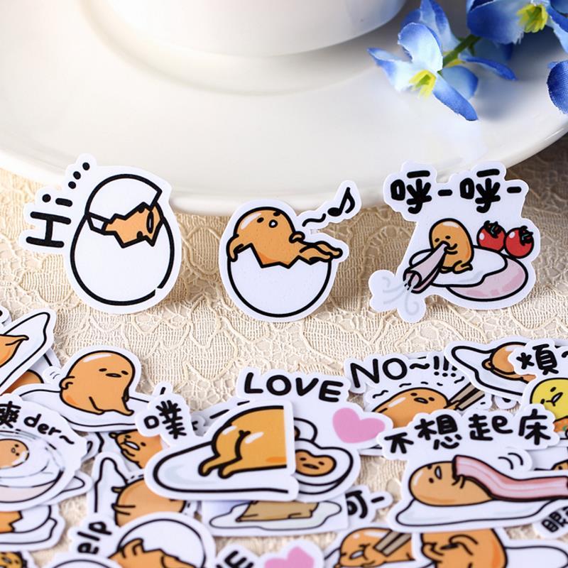 40 unids/pack Kawaii japonés Anime Lazy Egg Gudetama pegatinas Etiqueta de palo de scrapbooking diario pegatinas para álbum juguete para regalo clásico