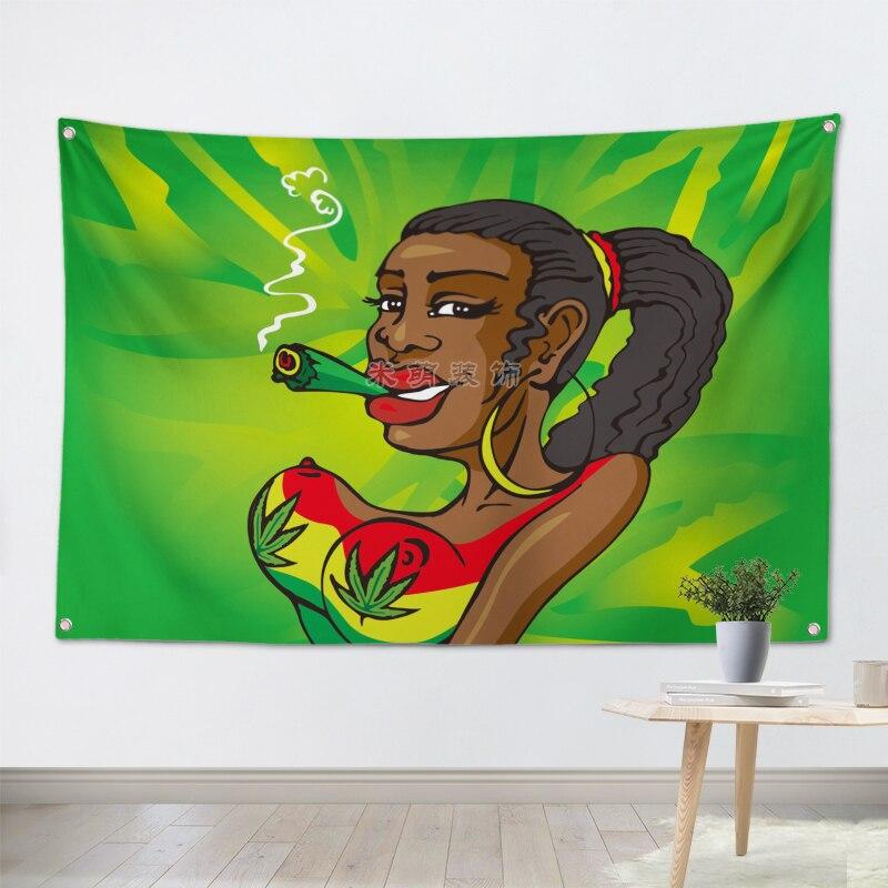 Pancarta de bandera para fumar en hoja bandera de Jamaica Bob Marley banda de música Rock decoración para el hogar bandera colgante 4 granulados en esquinas 3 * 5FT