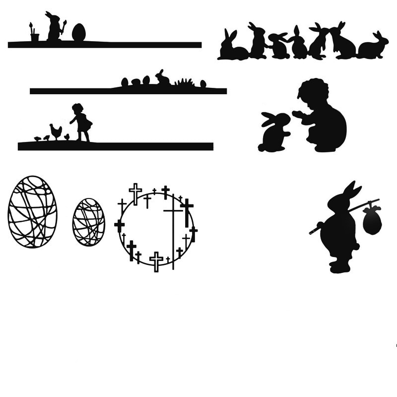 Пасхальные яйца кролики крест силуэт металла резки штампы Новый 2019 штампы для DIY Бумага для скрапбукинга карты изготовление декоративных изделий