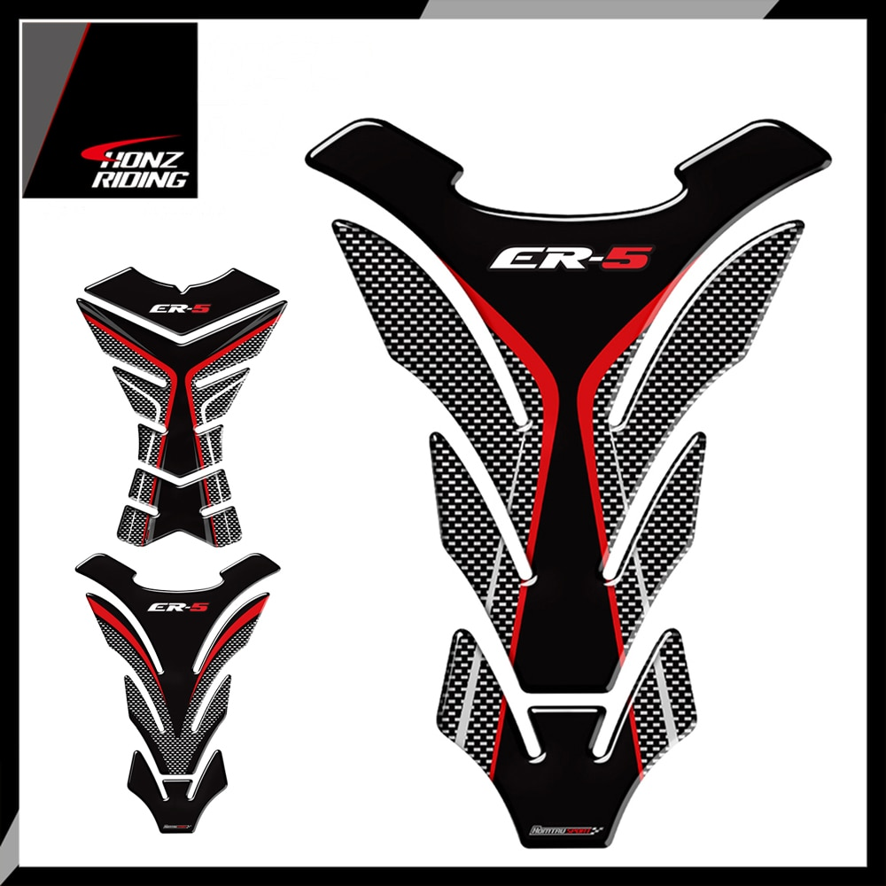 For Kawasaki ER5 ER-5 ER 5 Tankpad 3D Carbon-look Motorcycle Tank Pad Protector Decal