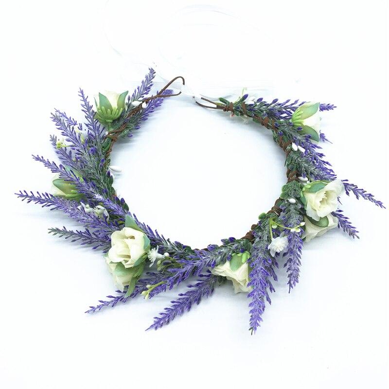 Lavanda RoseFlower corona diadema para fiesta mujeres accesorios para el cabello tocado Floral guirnalda sombrero de fiesta de boda