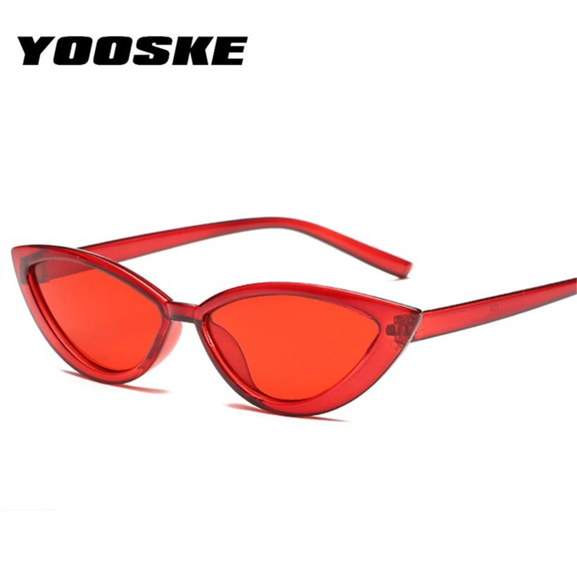 YOOSKE Cat Eye Style Clear Frame Sunglasses Women Purple Red Pink Summer Accessories for Beach Fashion Female Sun Glasses UV400