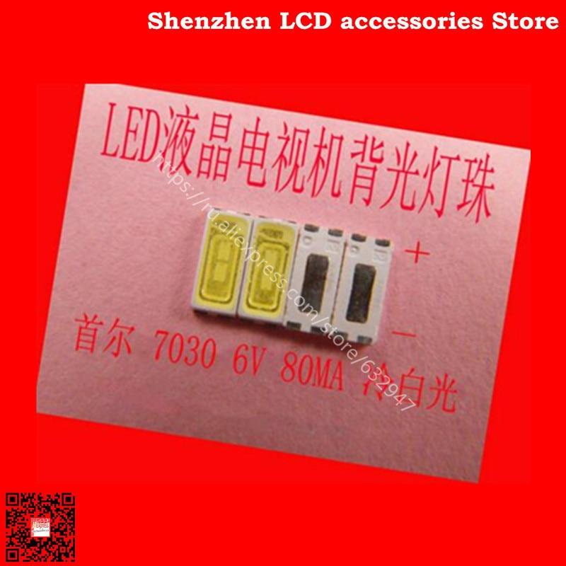 200 unids/lote para reparación Sony Toshiba Sharp LCD TV luz de fondo led tira de luz con Seúl 7030 cuentas de lámpara SMD 6V