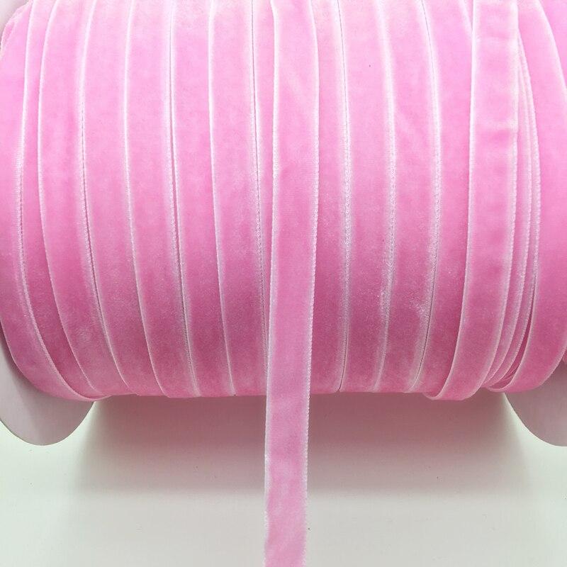 "5 yardas 3/8 ""10mm cinta de terciopelo rosa diadema Clips arco decoración de la boda"