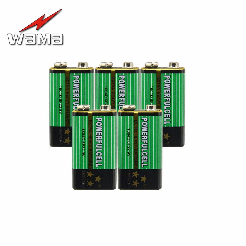 Wama 5 uds 6F22 Súper pesado 9V pilas alcalinas no recargables para Radio micrófono 60mAh baterías de Zinc carbono