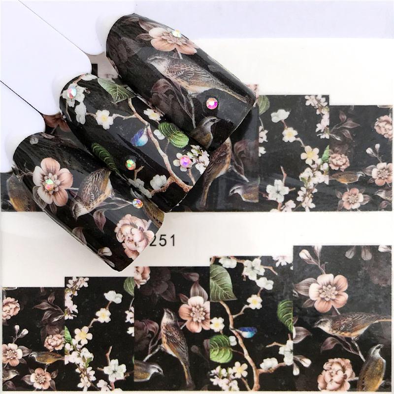 Наклейки для ногтей ZKO, 1 лист, черный цветок/бабочка/Ловец снов, наклейки на маникюр с использованием водяных знаков, наклейки для ногтей, 32 в...
