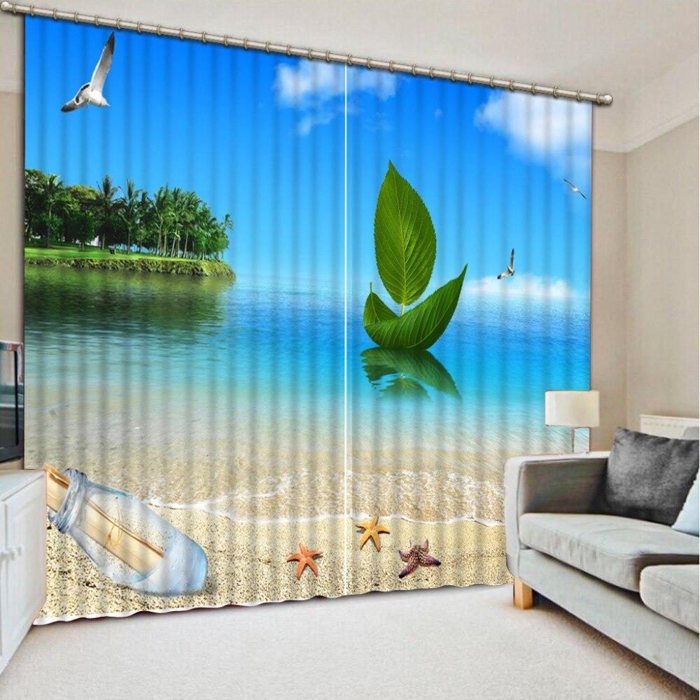 Cortina 3D Blackout cortina ventana Cortinas playa paisaje deriva botella hogar Decoración sala de estar Hotel Cortinas cortina 3D