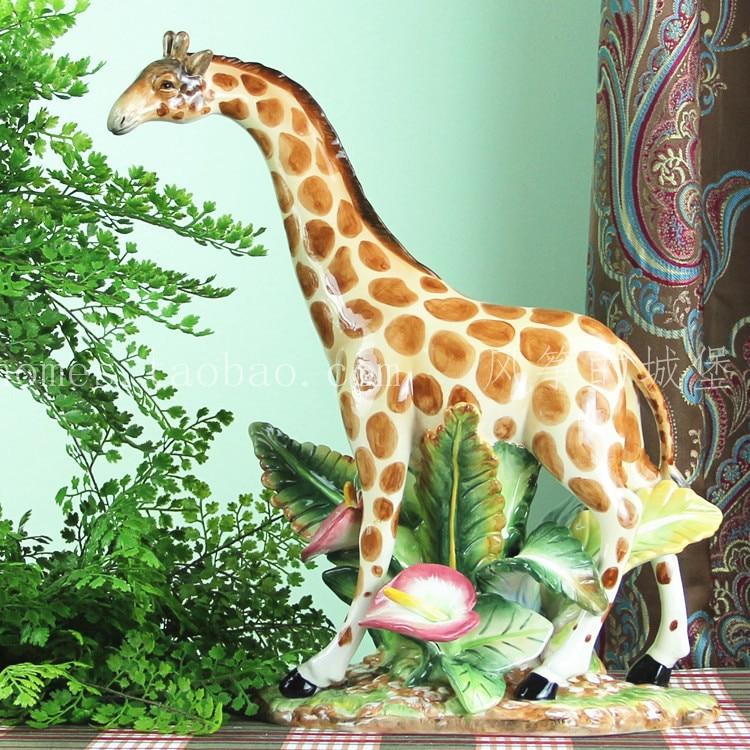 Cerámica jirafa ciervo casa rural manualidades decorativas decoración de la habitación adorno artesanal figuritas de porcelana decoraciones de la boda