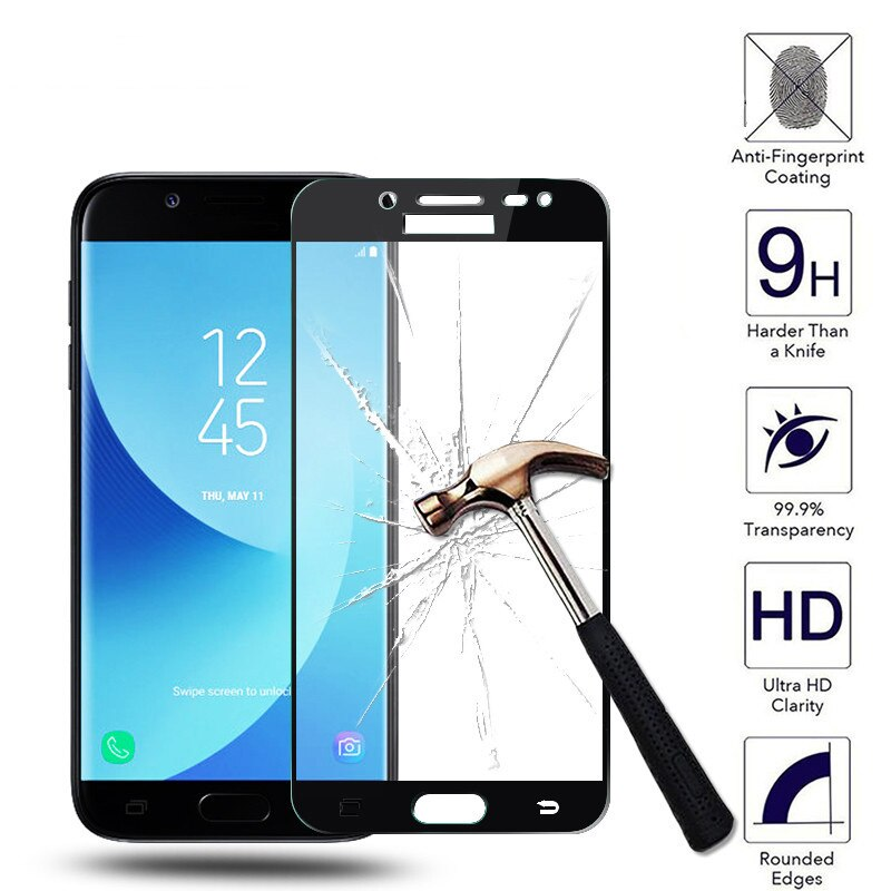Templado película del teléfono de cristal para Samsung Galaxy J5 J7 J3 A5 A3 2017 2016 A6 más A7 A8 2018 J4 J6 2018 Covred Protector de pantalla