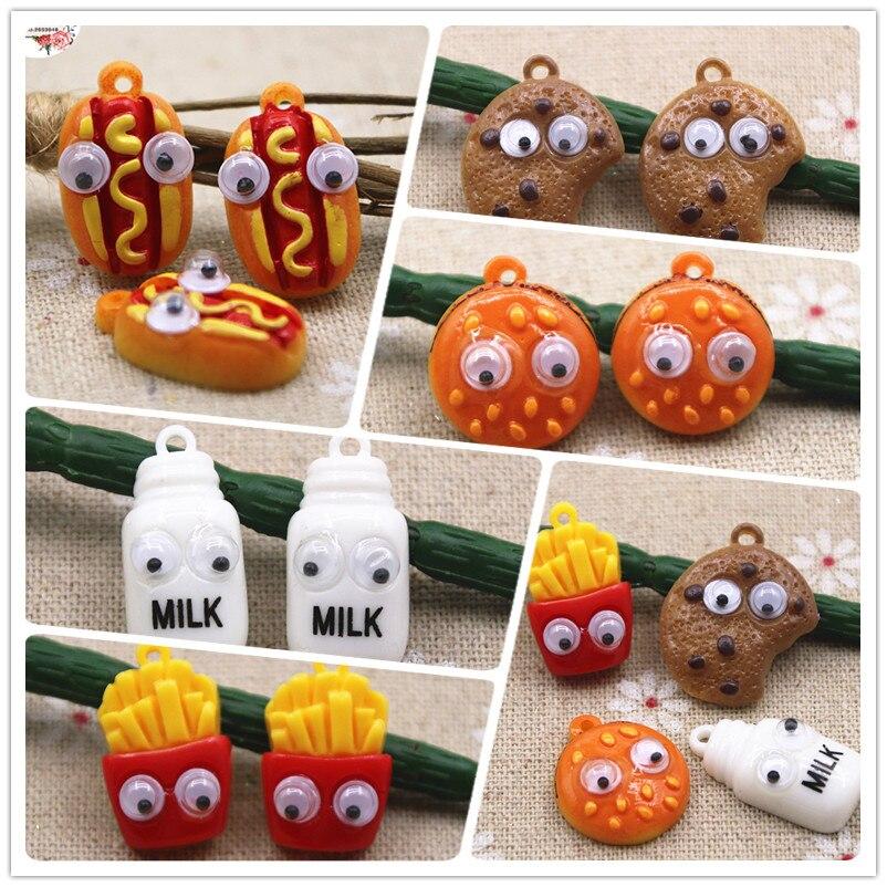 Perro caliente/patatas fritas/leche/hamburguesa 10 Uds resina Flatback Comida en miniatura suministros de arte, de decoración encanto artesanal