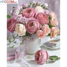 لوحة ماسية خماسية خماسية الأبعاد لوحة فسيفساء باللون الوردي الوردي من Daimond صور أزهار مطرزة بأحجار الراين تزيين مزهرية على شكل وردة